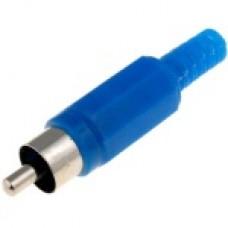 Штекер на кабель RCA тюльпан пластик Синий
