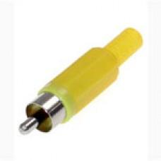 Штекер на кабель RCA тюльпан пластик Желтый