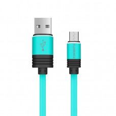 Кабель FLORENCE SILICONE MICROUSB 1M 3A GREEN