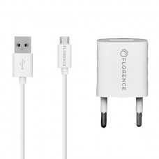 СЗУ FLORENCE 1USB 1A + MICROUSB CABLE WHITE