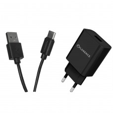 СЗУ FLORENCE 1USB 2A + TYPE-C CABLE BLACK